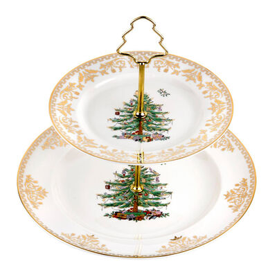 "Spode ""Christmas Tree Gold"" 2-Tier Cake Stand"