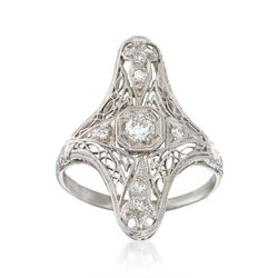C. 1920 Vintage .25 ct. t.w. Diamond Dinner Ring in Platinum. Size 5.75, , default