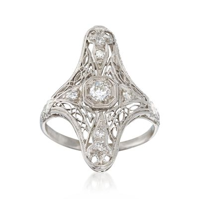 C. 1920 Vintage .25 ct. t.w. Diamond Dinner Ring in Platinum, , default