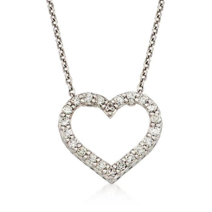 """Roberto Coin """"Tiny Treasures"""" .75 ct. t.w. Diamond Heart Necklace in 18kt White Gold. 16"""", , default"""
