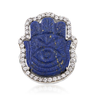 Lapis and .90 ct. t.w. White Zircon Hamsa Ring in Sterling Silver, , default