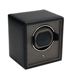 """The Cub"" Black Faux Leather Single Watch Winder by Wolf Designs, , default"