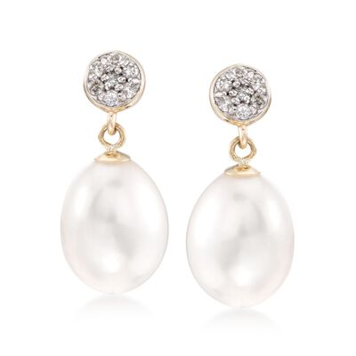 9-9.5mm Cultured Pearl and .14 ct. t.w. Diamond Drop Earrings in 14kt Yellow Gold, , default