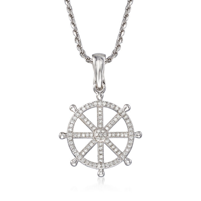 .25 ct. t.w. Diamond Ship Wheel Pendant Necklace in Sterling Silver