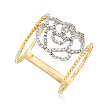 .40 ct. t.w. Diamond Openwork Floral Ring in 14kt Two-Tone Gold. Size 5, , default