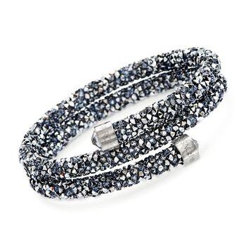 "Swarovski Crystal ""Dust"" Metallic Gray Crystal Coil Bracelet in Stainless Steel. 7"", , default"