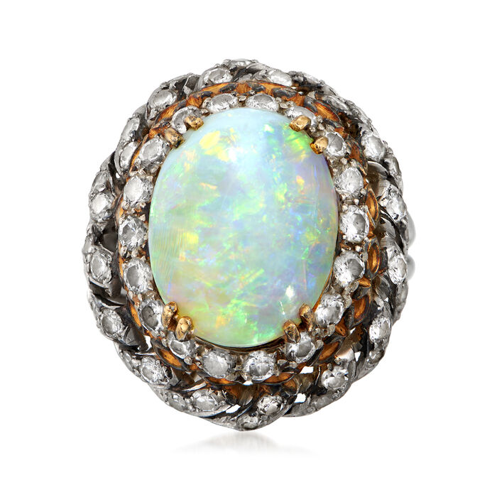 C. 1950 Vintage Opal and 2.00 ct. t.w. Diamond Ring in Platinum and 10kt Yellow Gold. Size 5