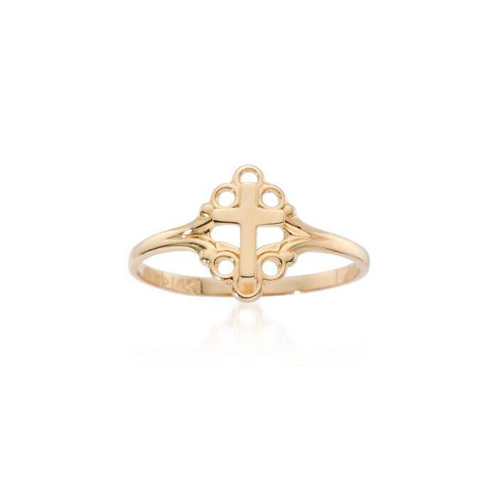 Child's 14kt Yellow Gold Cross Ring. Size 4, , default