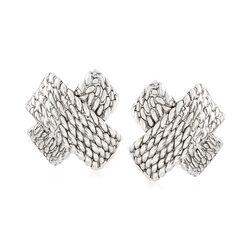 Sterling Silver Woven X Clip-On Earrings, , default