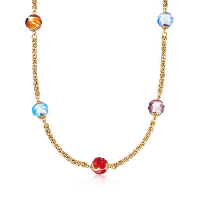 Italian Multicolored Murano Glass Bead Necklace in 14kt Yellow Gold, , default