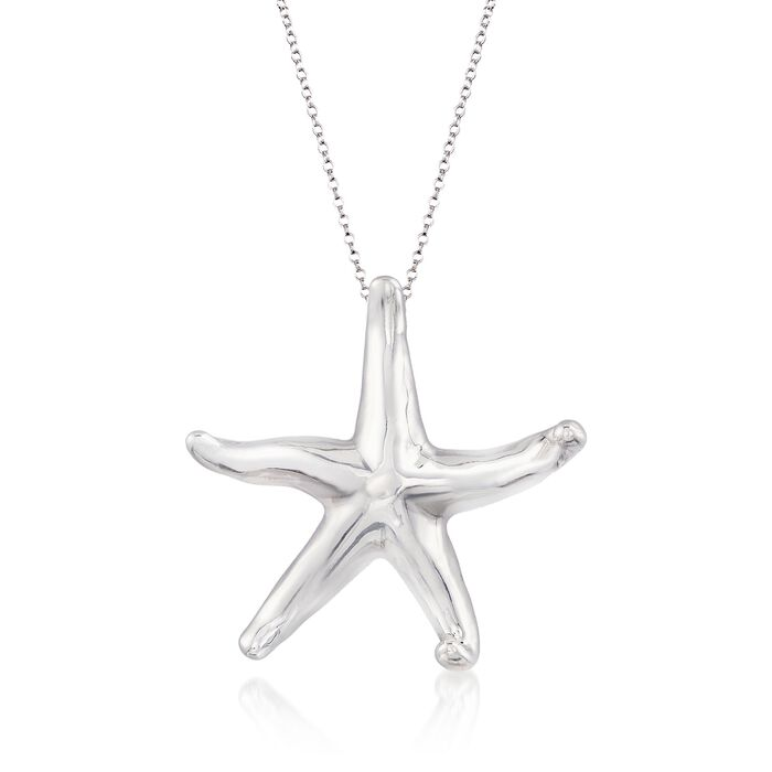 """Sterling Silver Starfish Pendant Necklace. 18"""", , default"""