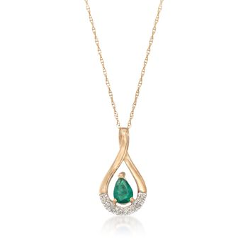 ".40 Carat Emerald Pendant Necklace With Diamond Accents in 14kt Yellow Gold. 18"", , default"