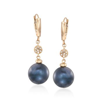 12-14mm Black Cultured Pearl Earrings With Diamonds in 14kt Yellow Gold , , default