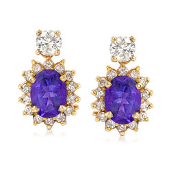 C. 1990 Vintage 2.50 ct. t.w. Amethyst and .70 ct. t.w. Diamond Earrings in 14kt Yellow Gold, , default