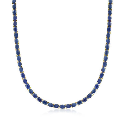 40.00 ct. t.w. Sapphire Necklace in 18kt Gold Over Sterling