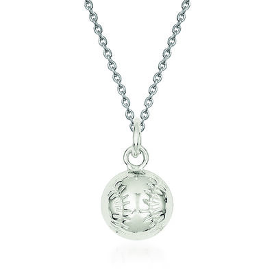 "Sterling Silver Polished Baseball Charm Necklace. 18"", , default"