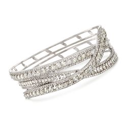 "9.15 ct. t.w. Diamond Crisscross Bangle Bracelet in 18kt White Gold. 7"", , default"