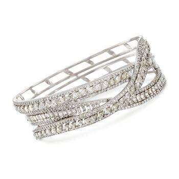 """9.15 ct. t.w. Diamond Crisscross Bangle Bracelet in 18kt White Gold. 7"""", , default"""