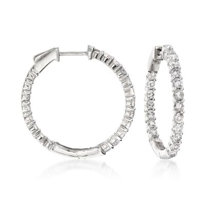 2.00 ct. t.w. Diamond Inside-Outside Hoop Earrings in 14kt White Gold