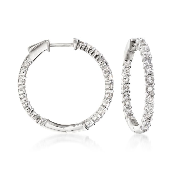 "2.00 ct. t.w. Diamond Inside-Outside Hoop Earrings in 14kt White Gold. 1"", , default"
