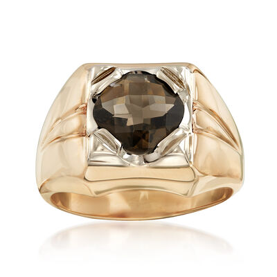 C. 1970 Vintage Men's 2.15 Carat Smoky Quartz Ring in 14kt Yellow Gold, , default