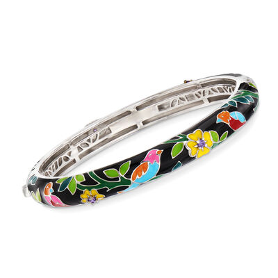 "Belle Etoile ""Song Bird"" Multicolored Enamel Slim Bangle Bracelet with CZ Accents in Sterling Silver, , default"