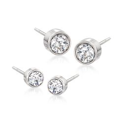 "Swarovski Crystal ""Harley"" Jewelry Set: Two Pairs of Crystal Stud Earrings in Silvertone, , default"