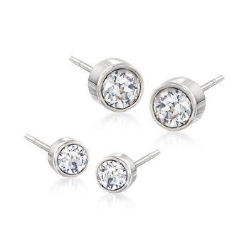 """Swarovski Crystal """"Harley"""" Jewelry Set: Two Pairs of Crystal Stud Earrings in Silvertone, , default"""
