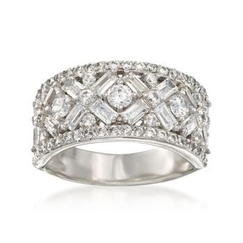 2.55 ct. t.w. Baguette and Round CZ Patterned Ring in Sterling Silver, , default
