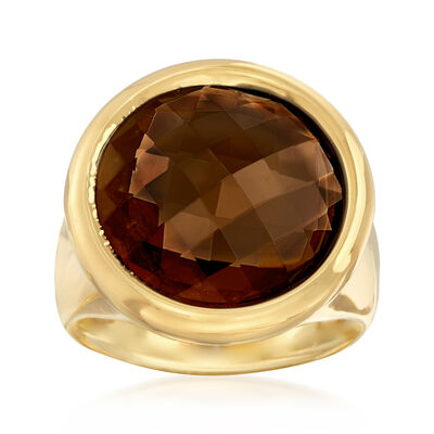Italian Andiamo 1.00 Carat Bezel-Set Smoky Quartz Ring in 14kt Yellow Gold, , default