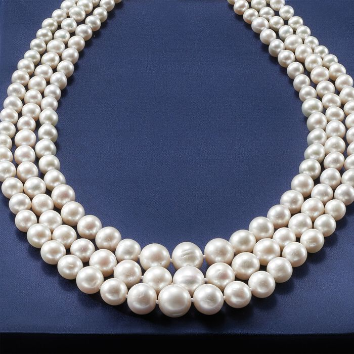 6-12.5mm Cultured Pearl Three-Strand Necklace with 14kt Yellow Gold