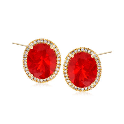 Fire Opal and .25 ct. t.w. Diamond Earrings in 14kt Yellow Gold, , default