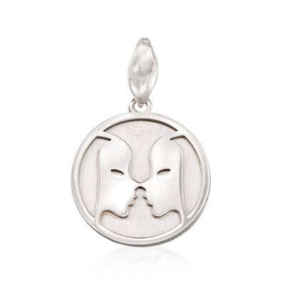 Italian Sterling Silver Gemini Zodiac Pendant, , default