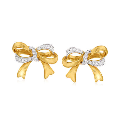 .17 ct. t.w. Diamond Bow Earrings in 14kt Yellow Gold, , default