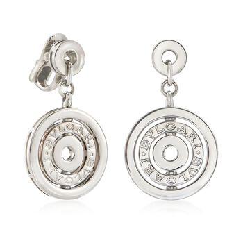 "C. 2000 Vintage Bulgari ""Astrale"" 18kt White Gold Clip-On Circle Drop Earrings"