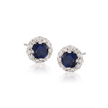 1.25 ct. t.w. Sapphire and .40 ct. t.w. Diamond Earrings in Sterling Silver, , default