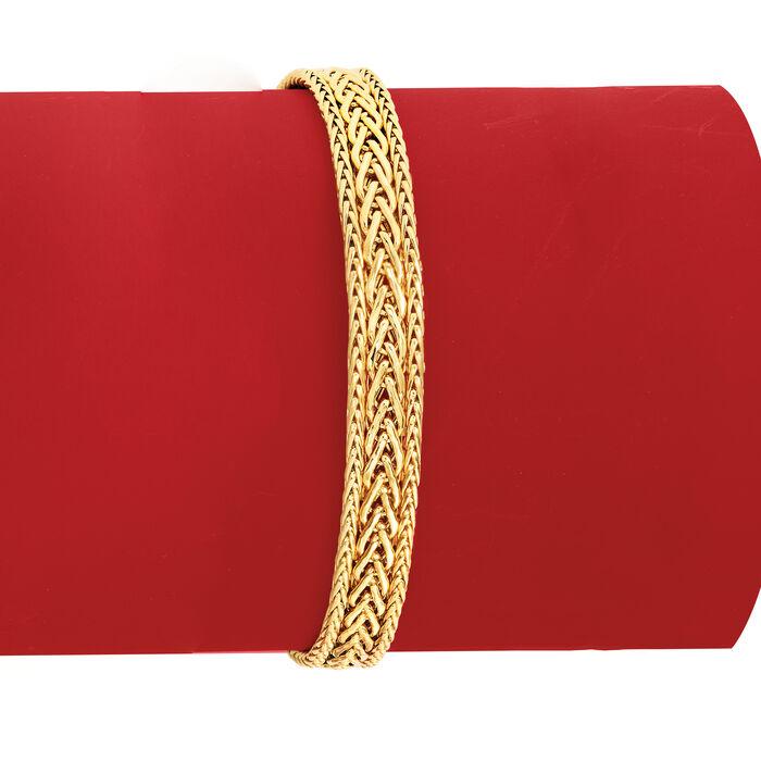 Italian 18kt Yellow Gold Three-Row Flat Wheat-Link Bracelet