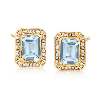 1.60 ct. t.w. Aquamarine and .15 ct. t.w. Diamond Earrings in 14kt Yellow Gold