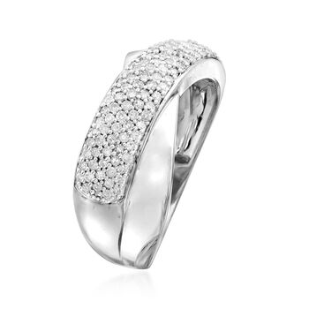 .50 ct. t.w. Pave Diamond Crisscross Ring in Sterling Silver