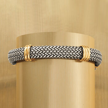 Italian Sterling Silver and 18kt Bonded Gold Woven Bracelet