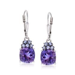 3.40 ct. t.w. Amethyst and .30 ct. t.w. Tanzanite Drop Earrings in Sterling Silver, , default