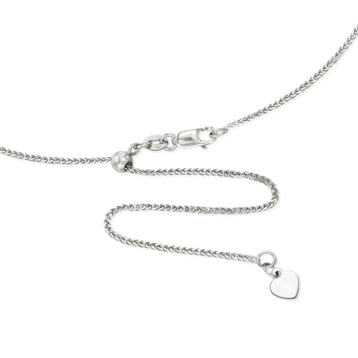 1mm 14kt White Gold Adjustable Wheat Chain Necklace