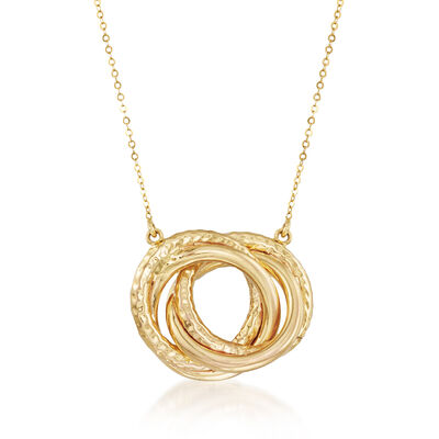Italian 14kt Yellow Gold Interlocking Circle Necklace, , default