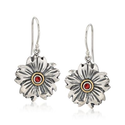 .10 ct. t.w. Garnet Flower Drop Earrings in Sterling Silver and 14kt Gold, , default