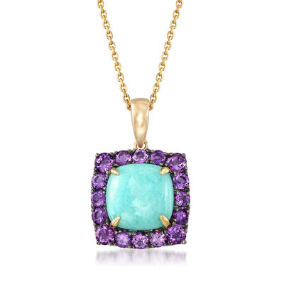 Blue Amazonite and 1.00 ct. t.w. Amethyst Pendant Necklace in 14kt Yellow Gold, , default