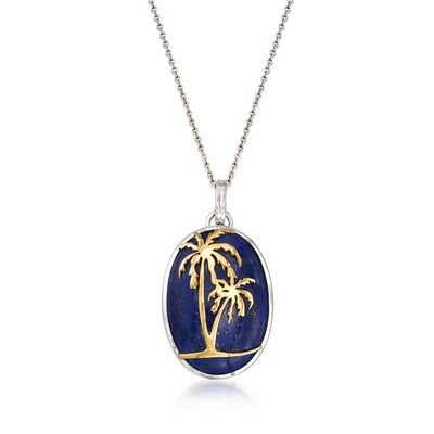 Oval Lapis Palm Tree Pendant Necklace in Sterling Silver and 14kt Yellow Gold