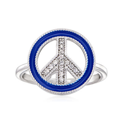 Blue Enamel and .10 ct. t.w. White Topaz Peace Sign Ring in Sterling Silver