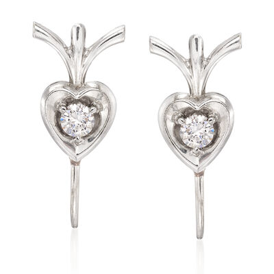 C. 1970 Vintage .20 ct. t.w. Diamond Heart Earrings in 18kt White Gold