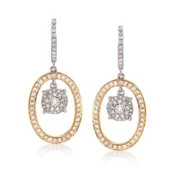 .98 ct. t.w. Diamond Illusion Drop Earrings in 14kt Two-Tone Gold , , default
