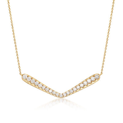 1.55 ct. t.w. Diamond V-Shape Station Necklace in 14kt Yellow Gold